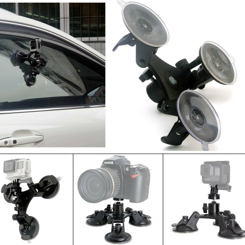 Car Windshield Mount for DSLR SLR Cam Heavy Duty Triple Suct