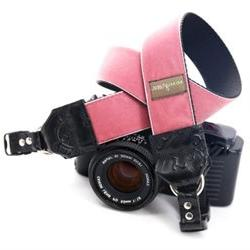 Mimi Green Claire Pink Velvet DSLR Camera Strap