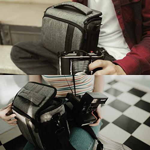 BAGSMART Compact Camera Bag for Waterproof Rain Cover, Grey