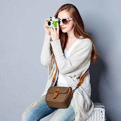 Compact SLR Shoulder Bag Evecase Small Shoulder Pouch 4/3 System/Mirrorless/Power Instax Digital