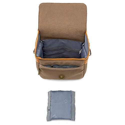 Compact Camera Bag Evecase Small Canvas Shoulder Case 4/3 Micro Third/Compact System/Mirrorless/Power Zoom/Instant Digital