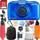 Nikon COOLPIX W100 Waterproof Blue Digital Camera + 32GB Mem