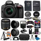 Nikon D3300 Digital SLR Camera 3 Lens Kit 18-55 VR Lens+32GB