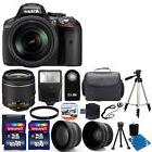 NEW Nikon D5300 Digital SLR Camera +3 Lens 18-55mm VR +Flash