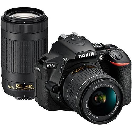 Nikon D5600 SLR 18-55mm VR AF-P Card + Flash + Charger + Grip Tripod + Kit