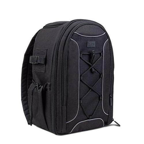USA Gear Camera Backpack DSLR Case with Storage Dividers, Ac
