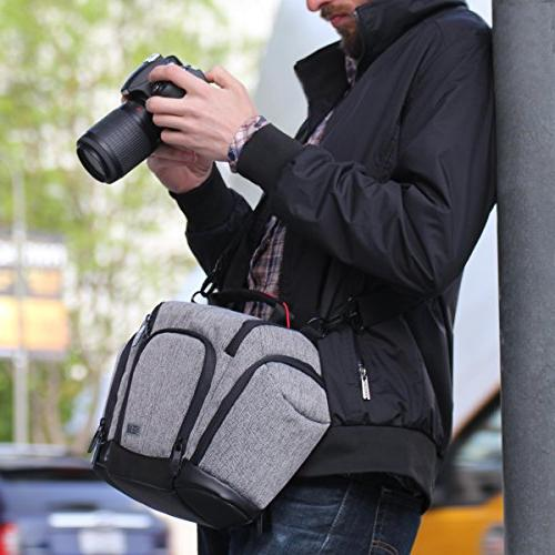 DSLR Camera Bag Sling with Weather Soft Cushioned Side Pockets by Great for , EOS , Sony Cyber-Shot III