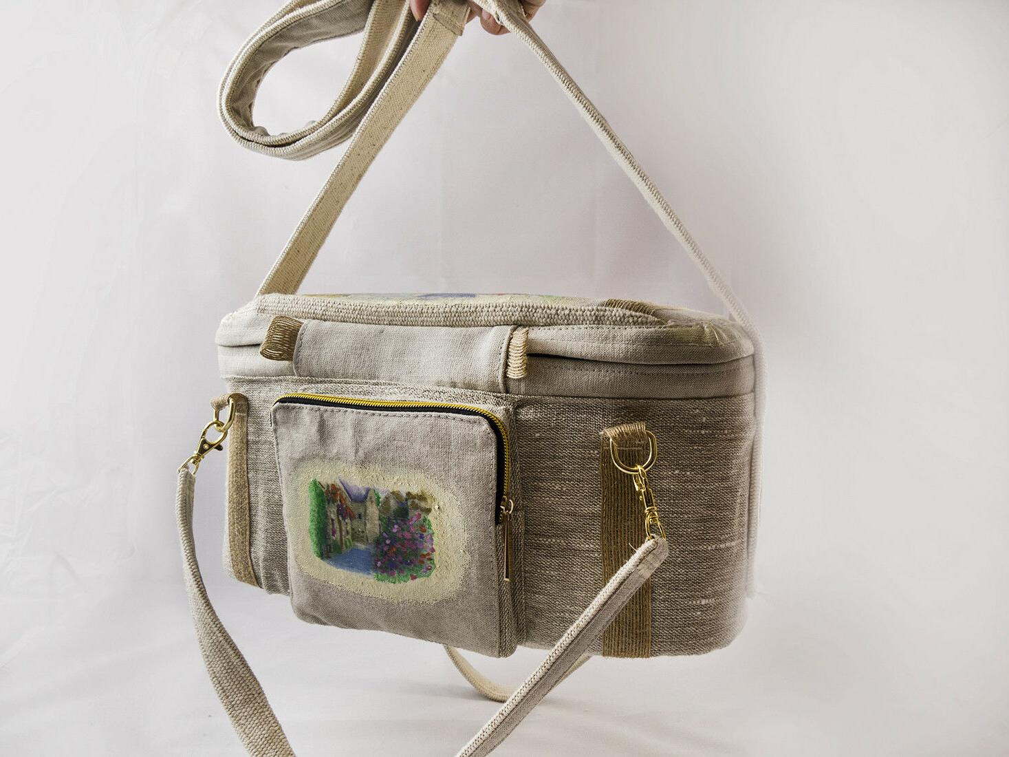 Handmade Camera Bag for Sony with insert Large OOAK