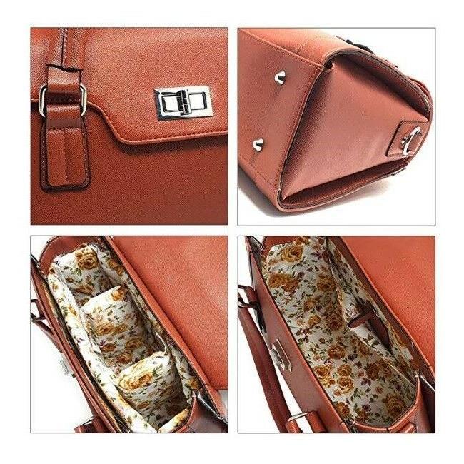 DSLR Camera Leather Purse Shoulder Bag Padded Case