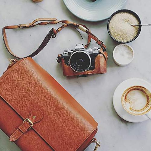 Women, Premium Leather Messenger Crossbody Camera Case with Canon Olympus Digital SLR and By Meliae