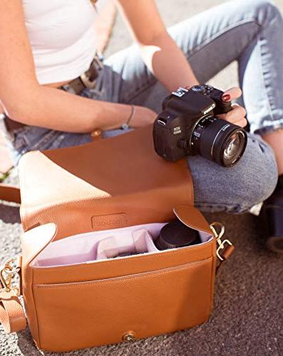 DSLR Camera Women, Stylish Leather Case with Padded Insert Fits Canon Nikon Digital SLR and Mirrorless By