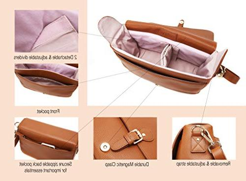 DSLR Women, Stylish Tan Leather Crossbody Case with Shockproof Insert Travel, Canon Nikon Digital and By