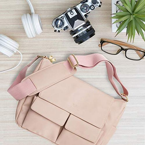DSLR Shoulder Camera Bag for Women, PU Blush Crossbody Cameras - Accessories, Equipment, Gear