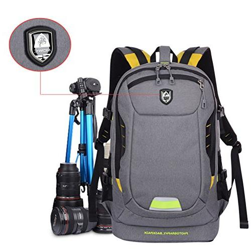 Abonnyc Backpack Rucksack Shockproof Waterproof Nikon Panasonic Olympus Pentax Accessories,Grey