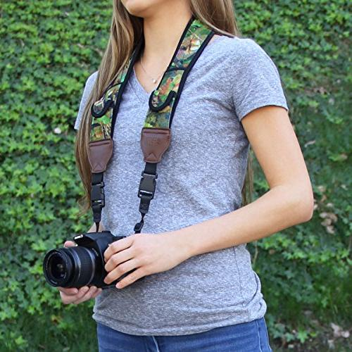 DSLR Strap with Camouflage Nature and Accessory by Gear - Works With Fujifilm , , Sony , Mirrorless & Shoot