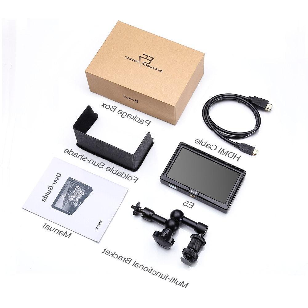 Eyoyo 4K <font><b>HDMI</b></font> <font><b>DSLR</b></font> <font><b>Camera</b></font> Monitor Bright 400cd/m2 Full HD IPS