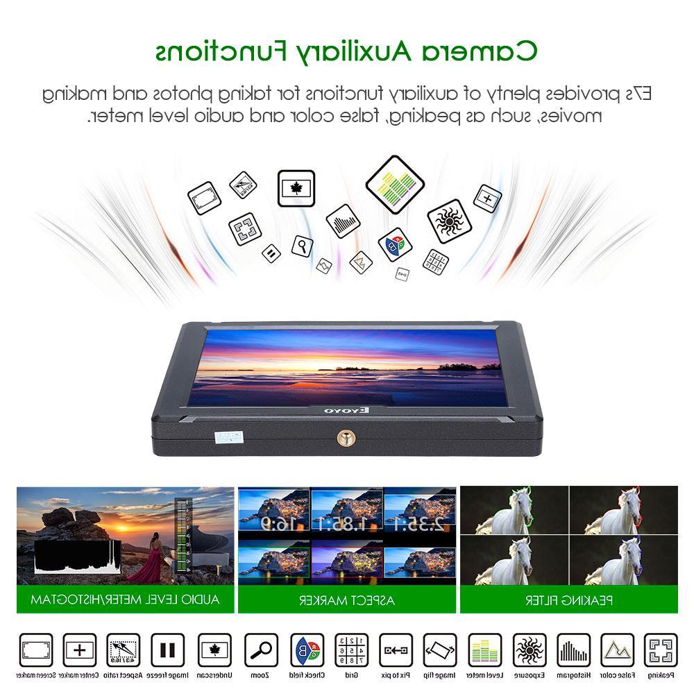 "E7S 7"" 4K <font><b>HDMI</b></font> <font><b>DSLR</b></font> Field Ultra Full 1920x1200 IPS FW279S Nikon BMPCC"