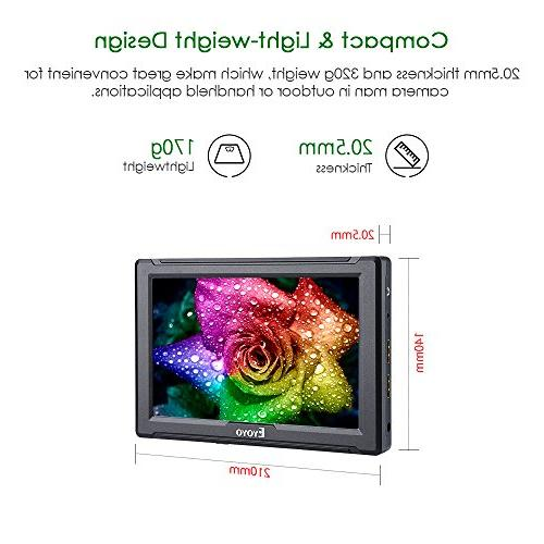Eyoyo E7S On Camera 1920x1200 IPS 4K HDMI Input Output Compatible with DSLR Camera Plate