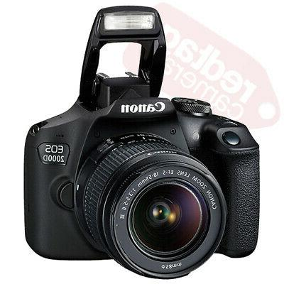 Canon 2000D Rebel T7 SLR + Lens Kit 18-55mm 16GB + Flash