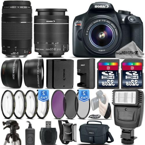 Canon EOS Rebel T6 / 1300D DSLR Camera + 18-55mm IS+ 75-300