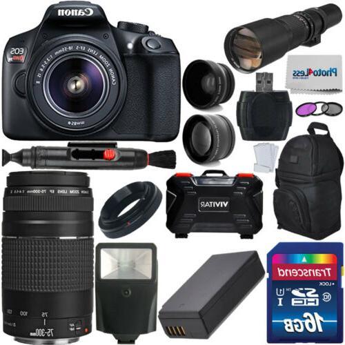 Canon EOS Rebel T6 DSLR Camera + 5 Lens: 18-55mm 75-300mm 50
