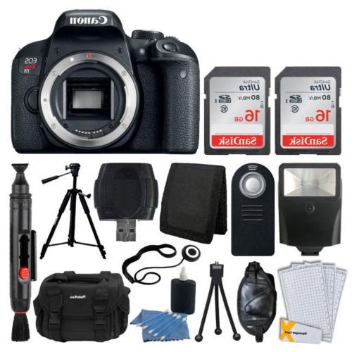 Canon EOS Rebel T7i DSLR Camera  + 32GB Card + Tripod + Case