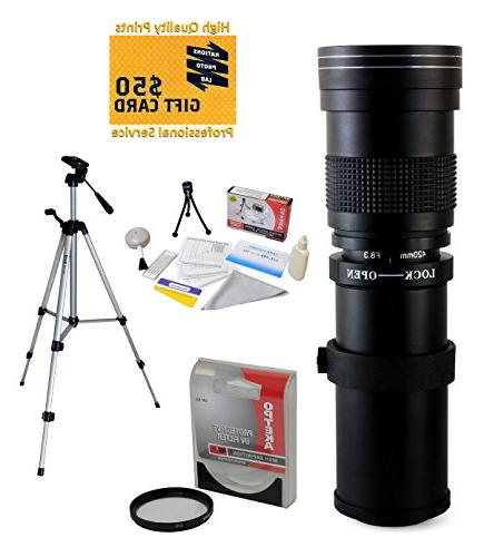 Opteka 420-800mm f/8.3 HD Telephoto Zoom Lens with UV Filter