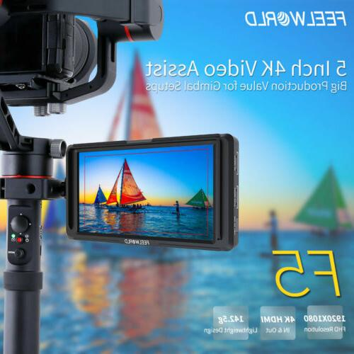 "FEELWORLD F5 5"" 4K HDMI DSLR with Arm for"