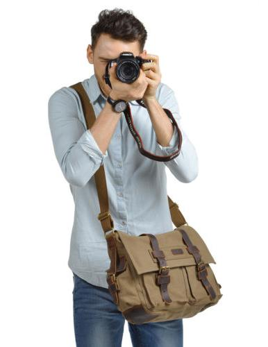 Fashion Canvas Cow Leather DSLR SLR Vintage Camera Shoulder
