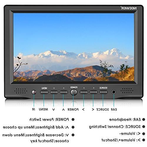 Neewer Monitor with VGA/AV/HDMI Input Screen 800:1 High Resolution for Nikon Cameras and Camcorders