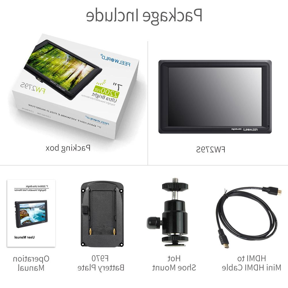 Feelworld 7 3G 4K <font><b>DSLR</b></font> <font><b>Camera</b></font> Field HD for
