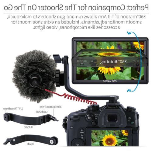 "FEELWORLD 5.5"" IPS Camera DSLR Monitor with Tilt Sunshade"