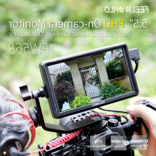 FEELWORLD FW568 Camera DSLR Monitor with Tilt Sunshade