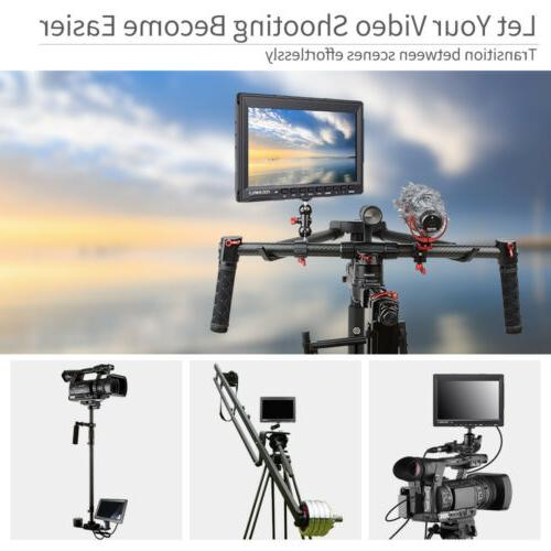 """FEELWORLD FW759 7"""" IPS Camera Video Monitor with Sunshade for Tripod"""