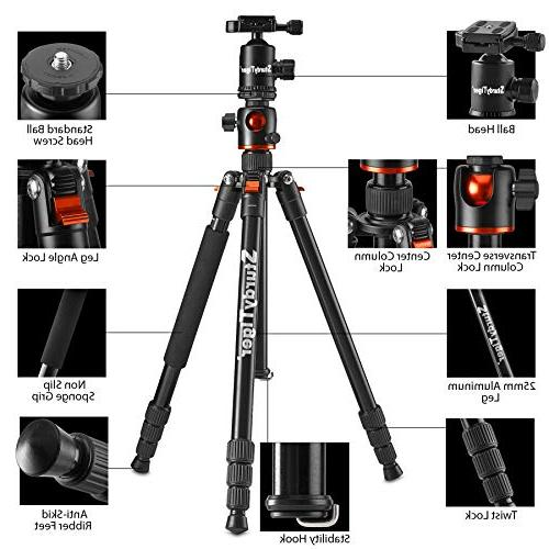 "Horizontal Arm Tripod & Portable Stand with 360° 67"" DSLR Video Travel Tripod"
