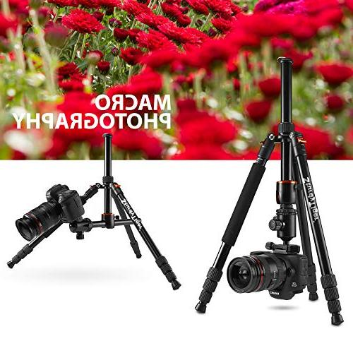 "Horizontal Tripod & – Portable Tripod 360° 67"" DSLR Tripod Video – Aluminum Travel Tripod"