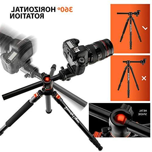 "Horizontal Arm Tripod Monopod Portable 360° Ball 67"" DSLR Tripod for Video Lightweight Travel"