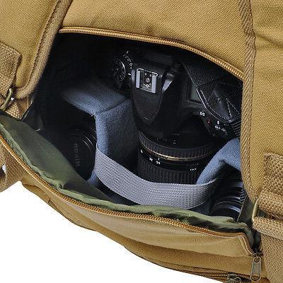 Khaki Camera Shoulder Bag for DSLR Canon Canvas