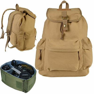 khaki case backpack shoulder carry