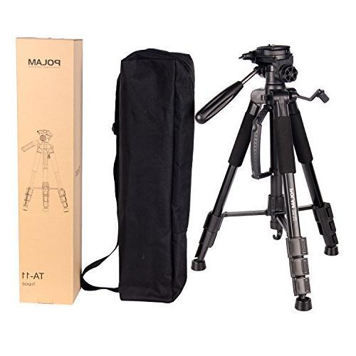 "POLAM-FOTO 55"" Travel Camera Tripod,Compact Level,Lightweight Aluminum Tripod Carry Bag"