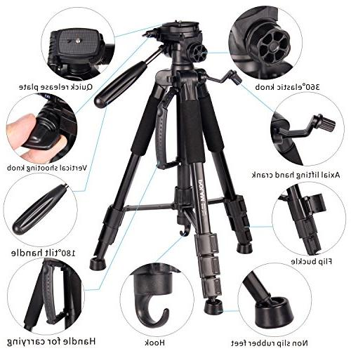 """POLAM-FOTO 55"""" Travel Camera Tripod,Compact Tripod with Level,Lightweight Aluminum Tripod Carry Bag fits with Canon/Nikon/Sony/etc"""