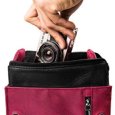 Magenta DSLR Camera Carrying GoPro Canon