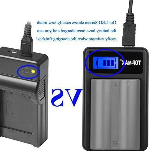 TOP-MAX EN-EL3e USB Charger with LCD EN-EL3e Battery for D80, and D700 SLR