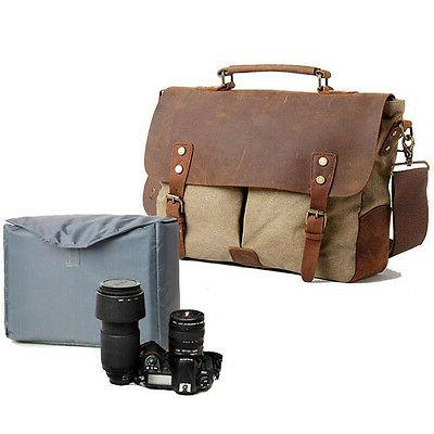 Mens Womens Canvas Leather DSLR Canon Nikon Sony Pentax Came