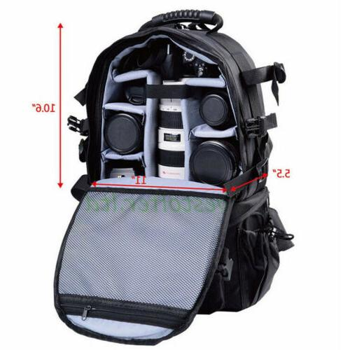 Multifunctional Large Space Camera Backpack For Canon Nikon DSLR US