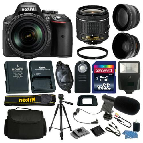 NEW Nikon D5300 DSLR Camera +18-55mm VR +32GB +Microphone Co