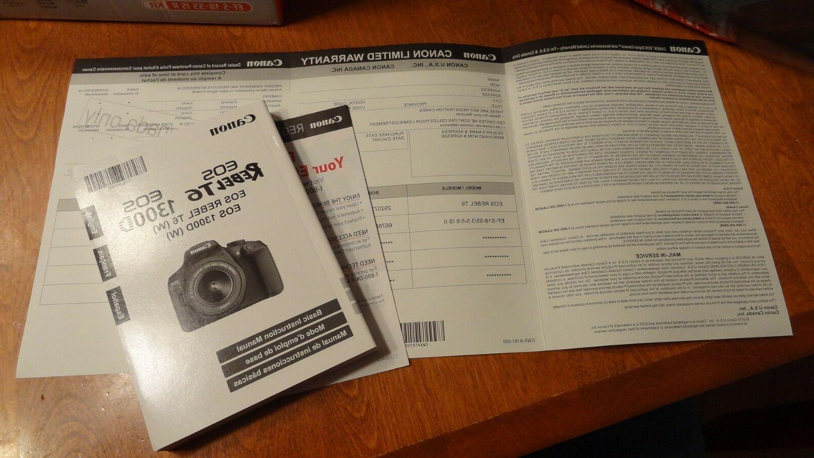 New Canon T6 Digital Camera Kit w/18-55mm Lens Bag NFC