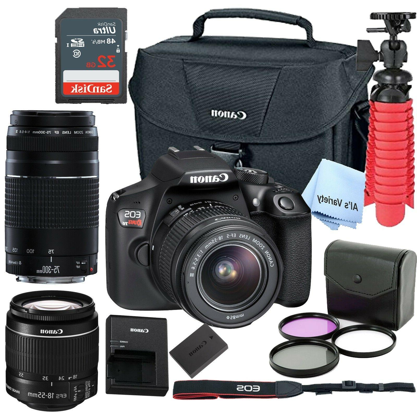 New Canon Rebel T6 SLR Camera Premium Kit w/ 2Lens 18-55& 75