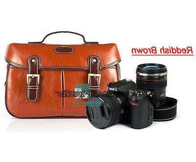 PU Leather DSLR Camera Messenger Bag Nikon Sony