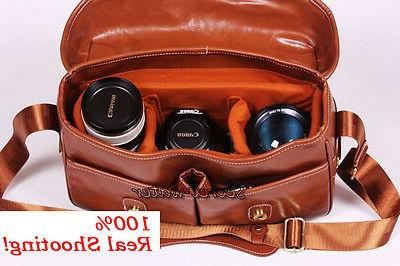 PU Leather DSLR Camera Messenger Nikon Sony